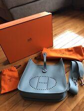 100% Authentic Hermes Evelyn PM Blue Jean Epsom Leather Full Set