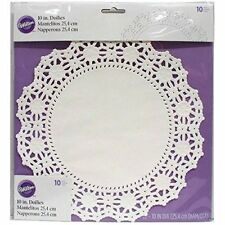 "Wilton 10 "" Doilies White Lace Paper Decoration Cakes Cupcakes Plates Decorating"