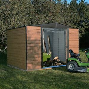 10x6 Woodvale Wood Effect Metal Garden Shed Brown