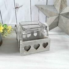 Single Glass Pot In A Distressed Rustic Wooden Heart Holder