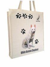 Deutscher Schäferhund WEIß Natürliche Baumwolle Tragetasche Tasche mit Gusset &