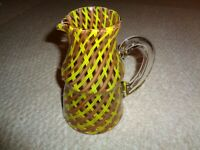 Dino Martins Martens glass pitcher brown yellow stripes Venini Murano