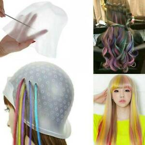 Salon Silicone Dye Hat Cap For Hair Color Highlighting Hairdressing with Hook