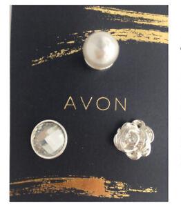 Avon EMI 3x Blouse Pins , New On Card Sealed