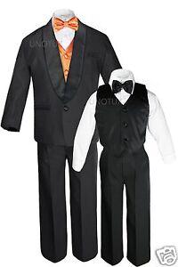 Boys Satin Shawl Lapel Suits Tuxedos EXTRA Orange Bow Tie Vest Sets Outfits S-18