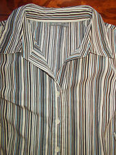 Apt 9 Blouse 1X Womens 14-16W Top Brown Blue Tan Striped Shirt 2X 3/4 Sleeve 4p7