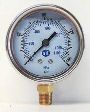 NEW Pressure Gauge Liquid Filled 0 -160 psi 1100 kpa Air Water Guage Gage AIP