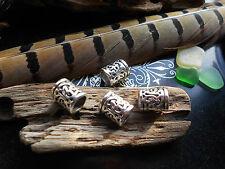 Perline dreadlock antiqued TIBETAN SILVER grosso Buco 8mm Tubo Polsini mozzafiato ** UK **