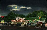 Vtg 1952 Linen Postcard Lighthouse Inn St. Petersburg Florida Night Street View