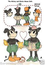 "Mickey & Minnie Mouse Rag Soft Doll Pattern 13-1/2""""  vintage # 91"