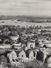 1928 Original INDIA Golconda Fort Hyderabad Cityscape Photo Art By HURLIMANN