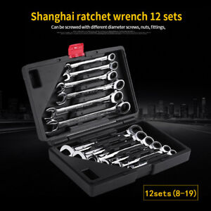 12pcs 8-19mm Metric Fixed Head Ratcheting Wrench Combination Spanner Tool Set