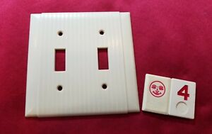 1 Ivory Vtg Ribbed Deco 2 Gang Double Switch Plate Lined Cover - RJ4