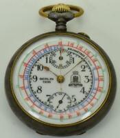 Rare historic gunmetal chronograph pocket watch for 1936 Berlin Olympic Games