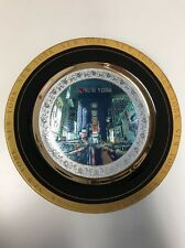 """VINTAGE ART OF CHOKIN 24kt GOLD EDGED """"NEW YORK"""" PLATE - MADE IN JAPAN"""