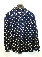 Gap Maternity M NWT Dark Blue Peach Pink Fox Dot Shirt Long Sleeve Blouse NEW