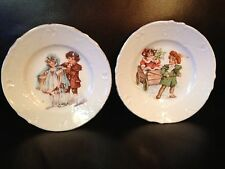 """2 Antique Collectibles Ceramic Hand Painted Boy and Girl Plates 5"""""""