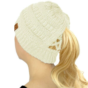 C.C Criss Cross Ponytail Messy Buns Knit Stretchy Beanie Winter Cap Hat Ivory