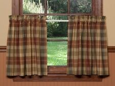 Saffron Tier Curtains 72WX36L Country Red Sage Green Golden Tan Plaid Cotton