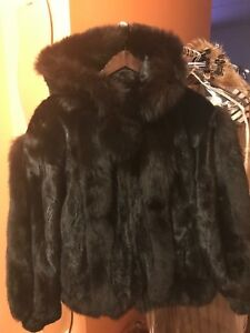 Authentic Women Custom Made Black Hooded Mink with Fox Fur Trimming Pom Pom Zip