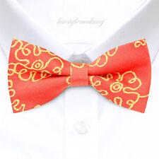 Brand new Coral/Yellow Jacquard Pre-tied Rare Tuxedo Bow tie for Men B1284