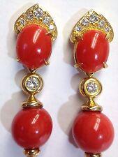 Wow! Designer 18K Gold VS Diamond Italian Red Salmon Coral Drop Earrings