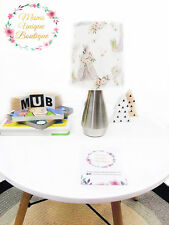 White Floral Teepee Boho Baby Children Nursery Table Lamp Night Light Touch Lamp