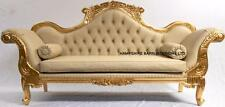 Double ended chaise WEDDING SOFA ornate french Gold Leaf w CREAM FAUX LEATHER