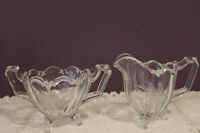 VINTAGE CLEAR GLASS FOOTED CREAM AND SUGAR - SCALLOPED EDGE - ETCHED