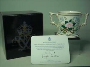 Royal Crown Derby PRINCE OF WALES CHARLES CAMILLA WEDDING Loving Cup  Box & COA
