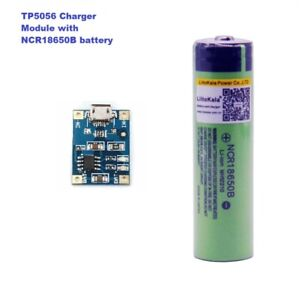 TP4056 charger with Button Top NCR18650B 3400mAh 18650Battery