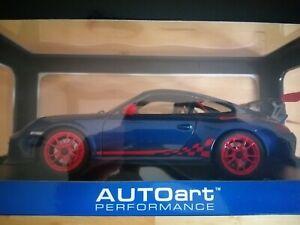 1:18 Autoart 78144 Porsche 911 997 GT3 RS 3.8 Blue with Red Stripes