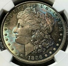 1886 P NGC MS65 Morgan Silver Dollar $1 Lustrous Blue Rose & Pewter Toned Gem