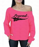 Legend Black Off The Shoulder Oversized Slouchy Sweater Sweatshirt
