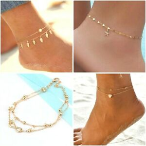 Anklet Gold Plated Foot Chain Infinity, Leafs, Starfish Anklets *UK*