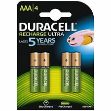 4 Duracell Recharge Ultra AAA BATTERIE RICARICABILI 850 mAh NiMH HR03 PRECHARGED