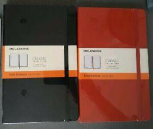 2 pezzi Moleskine Taccuino Classic - Nero e Arancio  a righe.