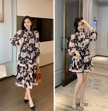 Zimmermann Ladies Maxi Floral Collared Puff Sleeve Drawstring Belt Shirt Dress