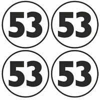 x4 77mm / 3inch Herbie 53 Circular Vinyl Stickers car vw beetle retro laptop toy