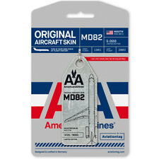 American Airlines McDonnell Douglas MD-82 Tail #N922TW Metal Plane Skin Bag Tag