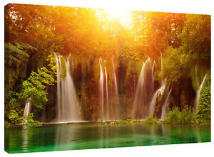 Forest Waterfall Orange Sunset Canvas Print Wall Art Picture