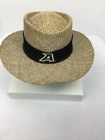 Peter Grimm Womens One Size Tan Braided Straw Hat Golf Resort Sun Panama Hat