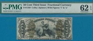 """FR.1359 .50 CENT RARE JUSTICE WITH """"1"""" &""""a"""" THIRD ISSUE FRACTIONAL PMG NEW 62EPQ"""