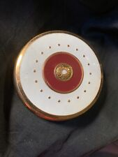 Vintage Coty Powder Compact Round Blue, Burgundy & Gold Tone