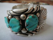 CHARLIE BOWIE NAVAJO TURQUOISE STERLING SILVER WATCH CUFF BRACELET SIGNED 111 G