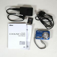 Nikon Coolpix S220 10.0 MP 3.0x Optical Zoom Lens Blue Battery Charger Manuals