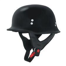 DOT German Style Half Face Motorcycle Helmet Chopper Cruiser Biker WW2 - Black
