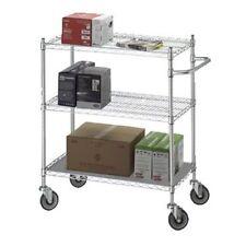 Linen Cart 24x36x42 w/Solid Bottom 16 gauge Chrome Plated Shelf Model Uc2436Sol