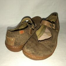 Camper Women's 39 US 8.5 Brown Embossed Suede Mary Jane Loafer Shoes