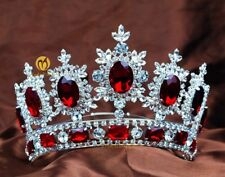 Princess Pageant Tiaras Red Crystals Crowns Bridal Wedding Headband Hair Jewelry
